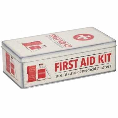 Bewaarblik first aid kit retro goedkope rood / creme
