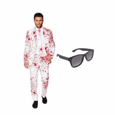 Bloedspatten goedkope heren pak maat (xxxxl) gratis zonnebri