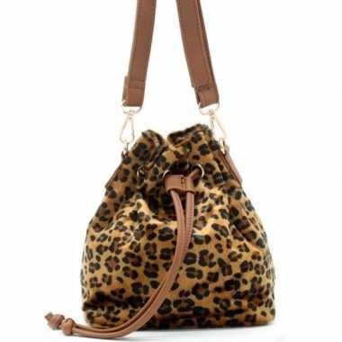 Bruin/zwart luipaardgoedkope schoudertasje/bucket bag
