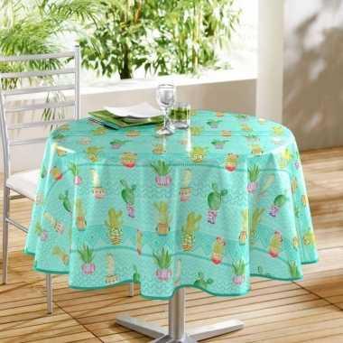 Buiten tafelkleed/tafelzeil turquoise/cactussen goedkope ron