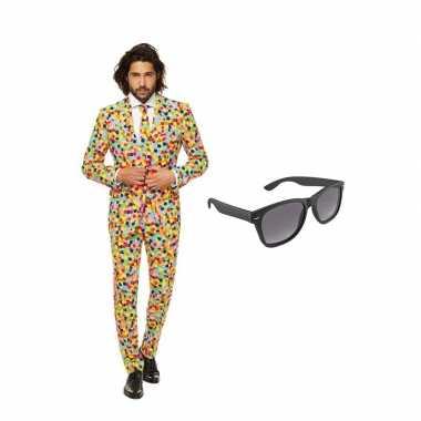 Confetti goedkope heren kostuum maat (xl) gratis zonnebril