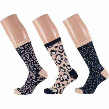 Dames fashion sokken pak luipaard goedkope beige/navy maat