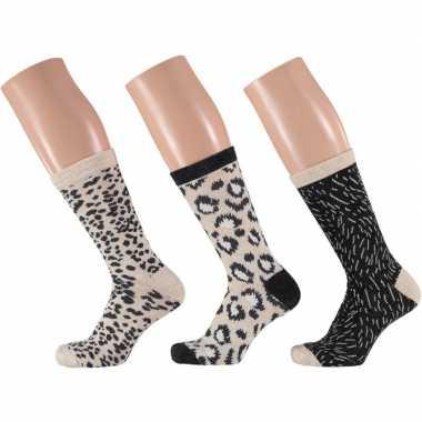 Dames fashion sokken pak luipaard goedkope beige/zwart maat
