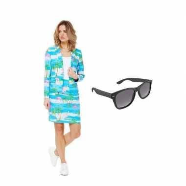 Dames mantelpak flamingo goedkope maat (m) gratis zonnebril
