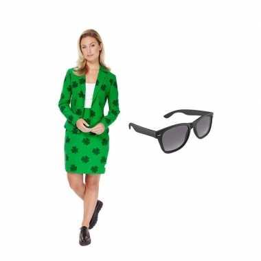 Dames mantelpak klavertje goedkope (m) gratis zonnebril