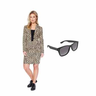 Dames mantelpak luipaard goedkope maat (xs) gratis zonnebril