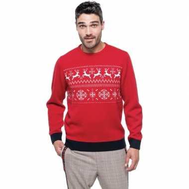 Foute gebreide kersttrui rood noorse goedkope heren