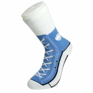 Foute sokken lichtblauwe sneaker goedkope volwassenen maat
