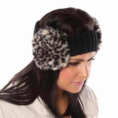 Gebreide hoofdband luipaardgoedkope oorwarmers dames