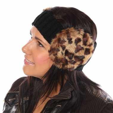 Gebreide hoofdband pantergoedkope oorwarmers dames