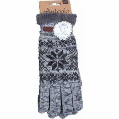 Gebreide winter handschoenen grijs nordic goedkope heren