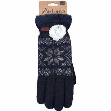 Gebreide winter handschoenen navy blauw/nordic goedkope heren