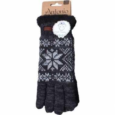 Gebreide winter handschoenen zwart nordic goedkope heren