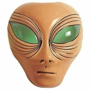 Goedkope alien verkleed masker bruin volwassenen