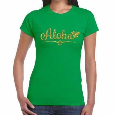 Goedkope aloha goud glitter hawaii t shirt groen dames