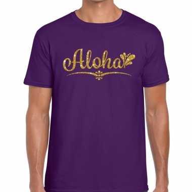 Goedkope aloha goud glitter hawaii t shirt paars heren