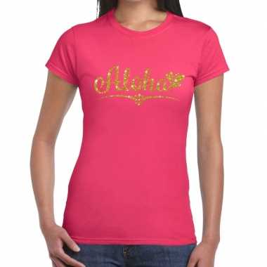 Goedkope aloha goud glitter hawaii t shirt roze dames
