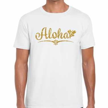 Goedkope aloha goud glitter hawaii t shirt wit heren