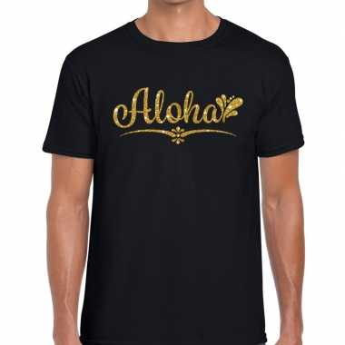 Goedkope aloha gouden glitter hawaii t shirt zwart heren