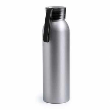 Goedkope aluminium drinkfles/waterfles zwarte dop