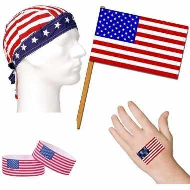 Goedkope amerika/usa thema verkleed set volwassenen