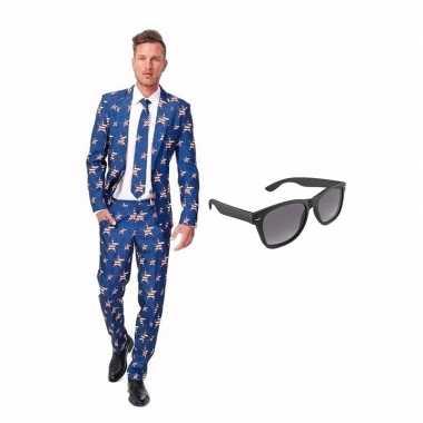 Goedkope amerikaanse vlag heren kostuum maat (s) gratis zonnebril