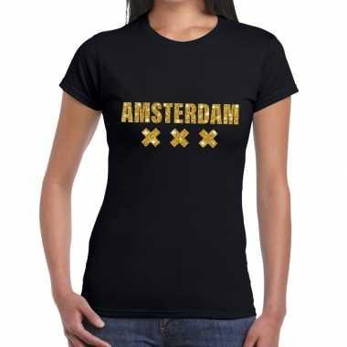Goedkope amsterdam gouden glitter tekst t shirt zwart dames