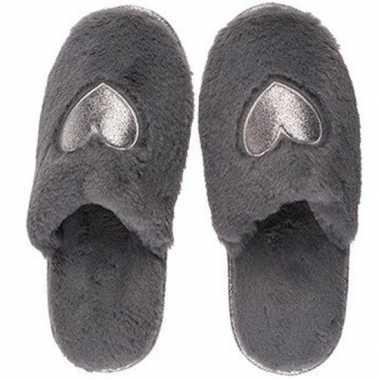 Goedkope antraciet grijze pantoffel dames slippers hartjes