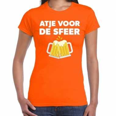 Goedkope atje sfeer feest t shirt oranje dames
