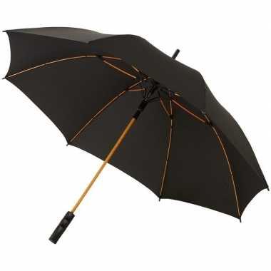 Goedkope automatische storm paraplu zwart/oranje