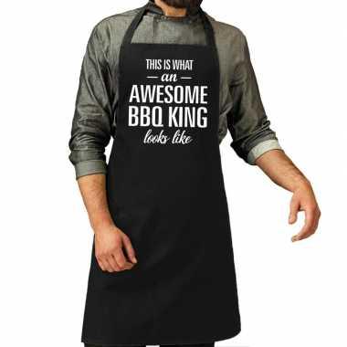 Goedkope awesome bbq king cadeau schort zwart heren