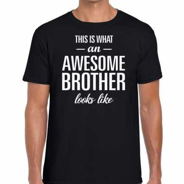 Goedkope awesome brother tekst t shirt zwart heren