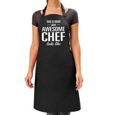 Goedkope awesome chef cadeau keuken schort zwart volwassenen
