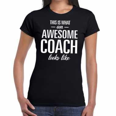 Goedkope awesome coach cadeau t shirt zwart dames
