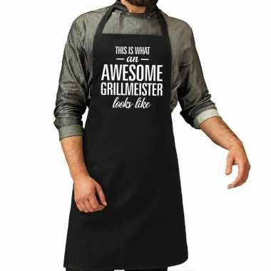Goedkope awesome grillmeister cadeau bbq schort zwart heren