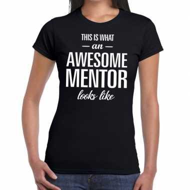 Goedkope awesome mentor cadeau t shirt zwart dames