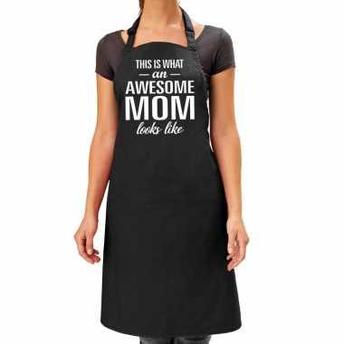 Goedkope awesome mom cadeau bbq/keuken schort zwart dames