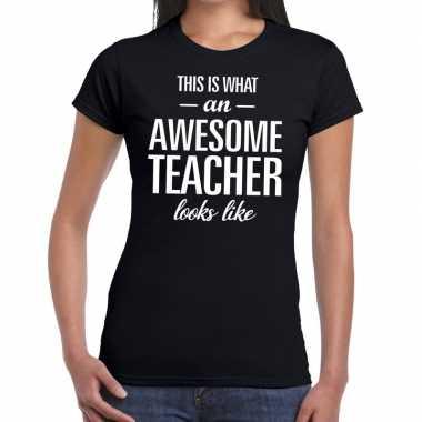 Goedkope awesome teacher cadeau juffendag t shirt zwart dames