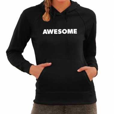 Goedkope awesome tekst hoodie zwart dames