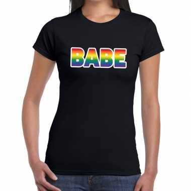 Goedkope babe gay pride t shirt zwart dames