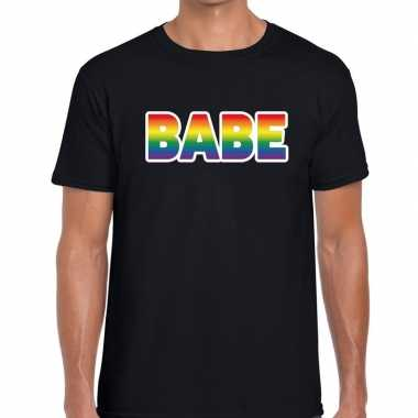 Goedkope babe regenboog gaypride shirt zwart heren