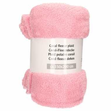 Goedkope babyroze fleece deken