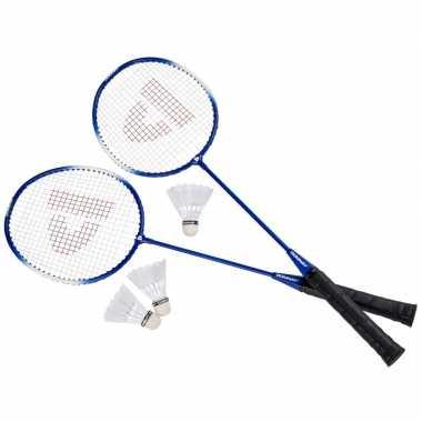 Goedkope badminton set blauw shuttles opbergtas