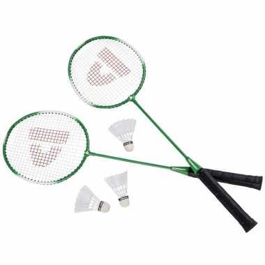 Goedkope badminton set groen shuttles opbergtas