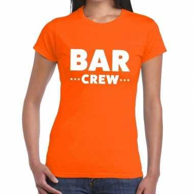 Goedkope bar crew / personeel tekst t shirt oranje dames