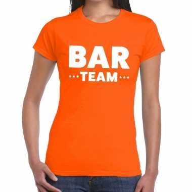 Goedkope bar team / personeel tekst t shirt oranje dames