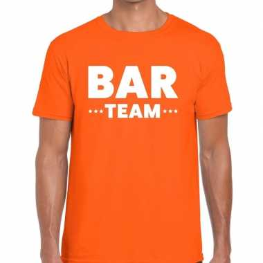 Goedkope bar team / personeel tekst t shirt oranje heren