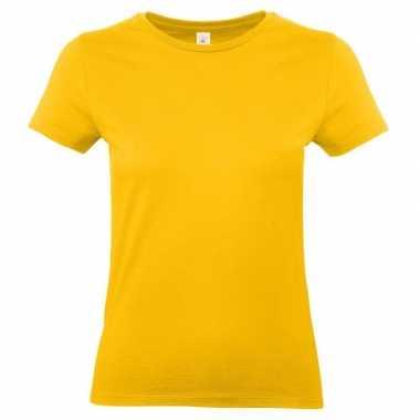 Goedkope basic dames t shirt goud geel ronde hals