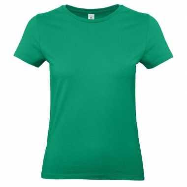 Goedkope basic dames t shirt groen ronde hals