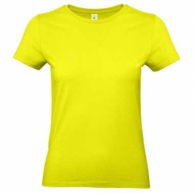 Goedkope basic dames t shirt neon geel ronde hals